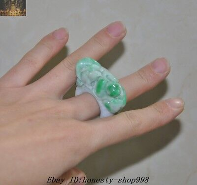 "2""Chinese 100% Natural Emerald Jade Jadeite Carved Exquisite jewelry Ring Rings"