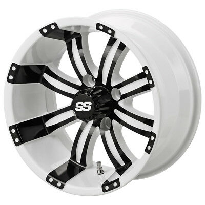 (4) 23x10-14 Black Trail DOT Tire on a 14x7 White/Black Casino Wheel