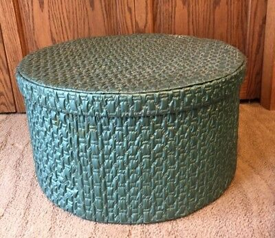 Vintage large 1950s  hatbox storage round turquoise teal quilted vinyl