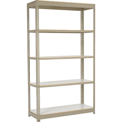 "Boltless Heavy Duty Tan Shelving 48""W x 18""D x 84""H, 5 Shelves, Laminate Deck,"