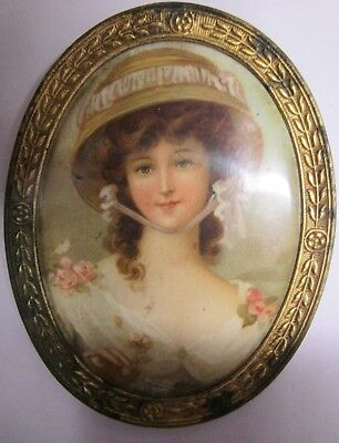 Vintage-Antique Miniature Metal Framed Image of Fancy Victorian Young Woman