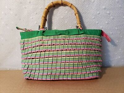 Vintage Preppy Ribbon Style Bag Bamboo Handle Purse Pink Green