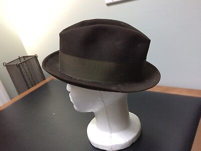 Vtg Dobbs Brown Fedora Hat Sz 7