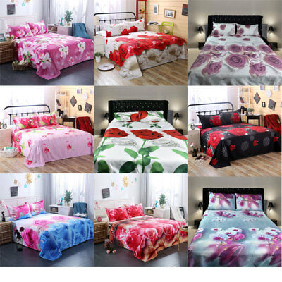 3D Bedding Sheet Pillow Case Cover Set For Single Double Bed Home Textile