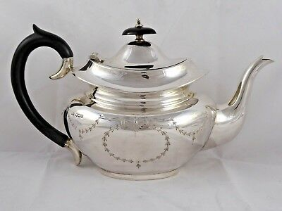 SMART VINTAGE SOLID STERLING SILVER 'CLASSICAL'  TEAPOT 1932 VINERS 618 g