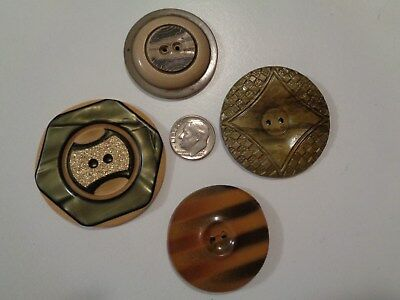 Antique Large Wafer Sewing Buttons   4 Pc. Lot (Bakelite Celluloid Plastic  ? )
