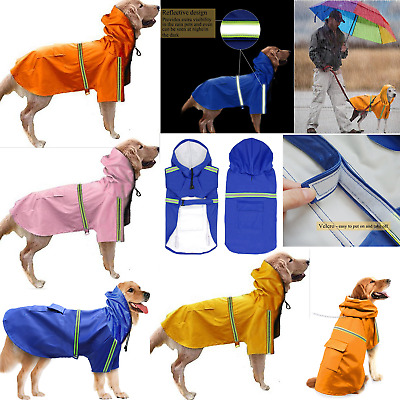 Reflective Rain Coat Dog Hooded Lightweight Jacket S-5XL Waterproof Pet Raincoat