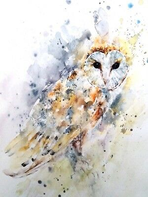ORIGINAL signed contemporary watercolour painting BARN OWL