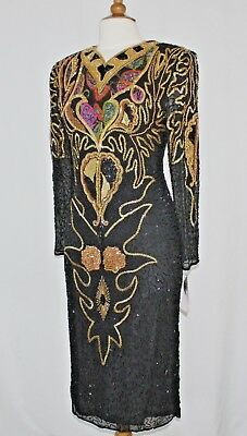 "Jasdee Vintage Dress Length 45"" Inch Hand Work Bead & Sequins On Silk Style 3015"