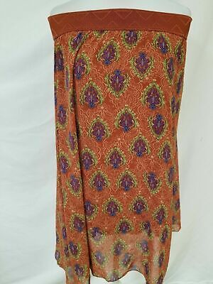 82ca63a4b8 New Lularoe Lola Skirt XS Orange purple green blue abstract floral sheer