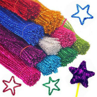 20/100pcs Glitter Chenille Craft Pipe Cleaners Kids Toys Twist Rods DTY Stems
