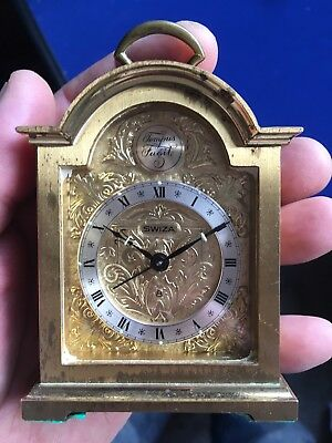 Vintage Miniature *swiza Tempus Fugit* 8 Day Brass Alarm Mantle Carriage Clock
