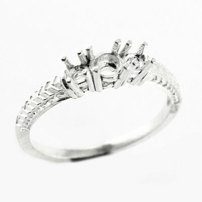 Solid 14k White Gold Engagement Semi Mount 3-Stone Ring 3mm 4mm Round Cut