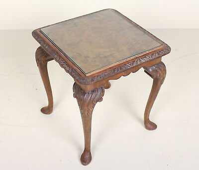 Antique Vintage Carved Walnut Side Table Glass Console Lamp Table