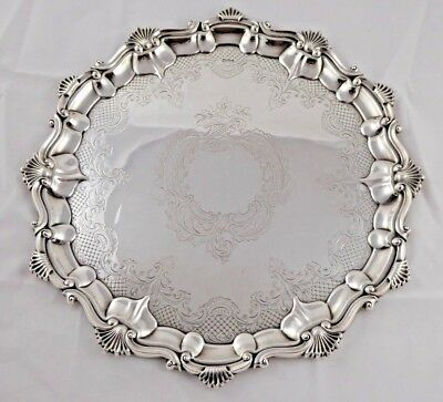 SMART ANTIQUE VICTORIAN SOLID STERLING SILVER SALVER TRAY JOHN ROUND 1899 818 g