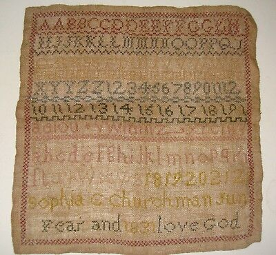 Sampler dated 1831 with alphabet
