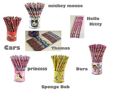 12 Childrens Character Pencils Birthday Party Loot Bag Fillers
