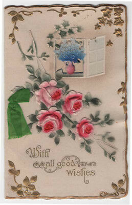 Victorian 2 Page Booklet Christmas Greeting Card, Flowers in Window, Roses
