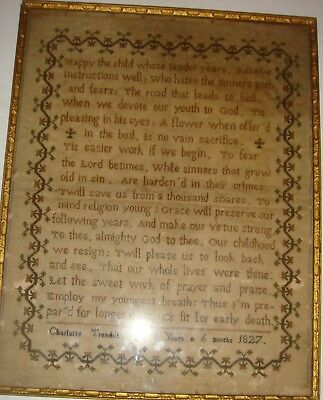 Antique sampler by Charlotte Trendall dated 1827