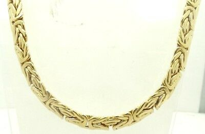 Gorgeous 14K Yellow Gold Heavy Byzantine Style Necklace 10.5mm X 17 Inch A9239