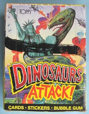 1988 - TOPPS - DINOSAURS ATTACK! - UNOPENED 48 ct. WAX BOX - PROMO INSERT POSTER