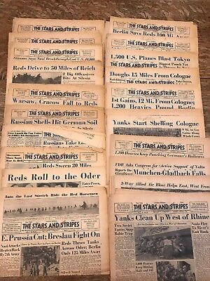 LOT OF 20 Vintage STARS AND STRIPES Newspapers London Edition WWII 1945