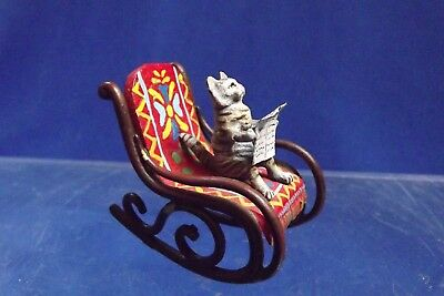 Vienna Bronze Cold Painted Cat Reading in Rocking Chair Mint