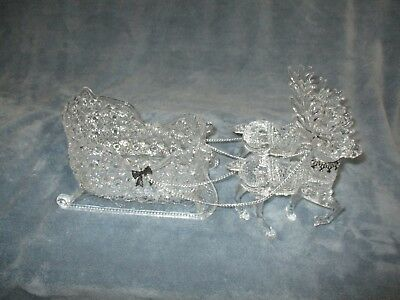 Christmas Around The World Crystalline Acrylic Sleigh With 2 Reindeer Excellent