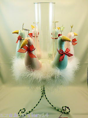 Krinkles 12 DAYS XMAS 6 GEESE CANDLEHOLDER CENTERPIECE Patience Brewster Dept 56
