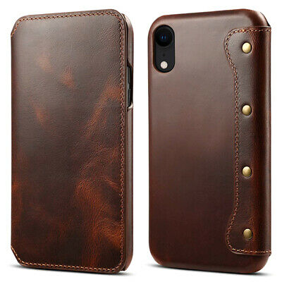 For iPhone Xs Max XR 7 8 100% Authentic Real Leather Wallet Flip Card Case Cover