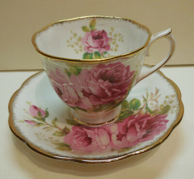 Tea Cup & Saucer ROYAL ALBERT AMERICAN BEAUTY PINK ROSES SET Excellent Condition