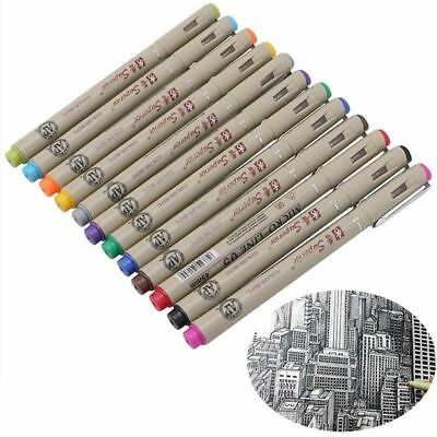 12 Color 0.5 Art Manga Fine Point Copic Graphic Sketch Drawing Markers Pen Set