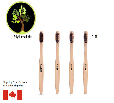 4 X Wooden Handle Toothbrush Environment Bamboo Charcoal Tooth Brushes