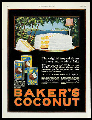 1921 BAKER'S COCONUT Cake Icing Tropical Advertising Tins & Recipe Vtg PRINT AD