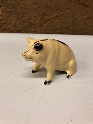 Vintage Cast Iron Pig Bank White And Black County Farm