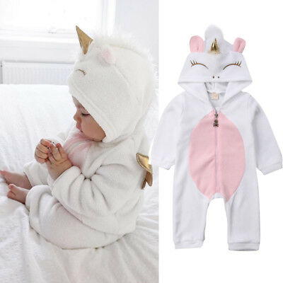 Cute Newborn Kid Baby Girl Romper Unicorn Flannel Lovely Jumpsuit Zipper Outfit