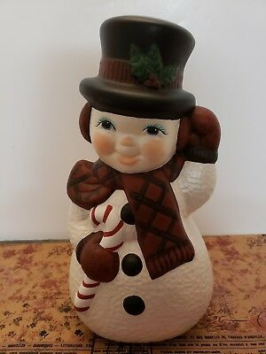 """Vintage Christmas 1980's Ceramic Hand Painted 12"""" Snowman W/ Candy Cane NICE!"""