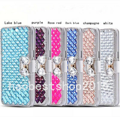 Bling Crystal Diamonds magnetic PU leather flip slots stand wallet case cover 15