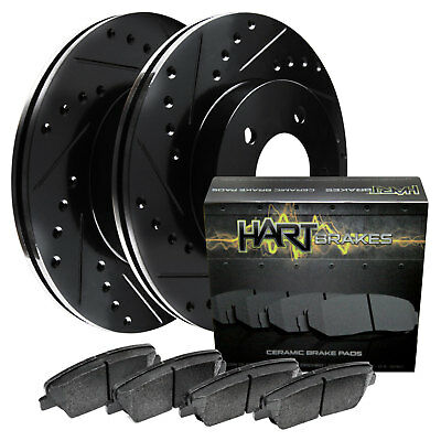 Front Black Hart Drilled Slotted Brake Rotors and Ceramic Pads Accent,Rio,Rio5