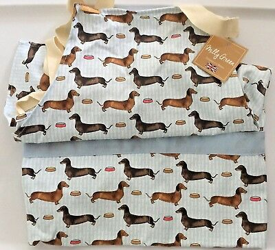 Debonair Dachshund Doxie Sausage Dog Kitchen Apron by Milly Green One Size NWT