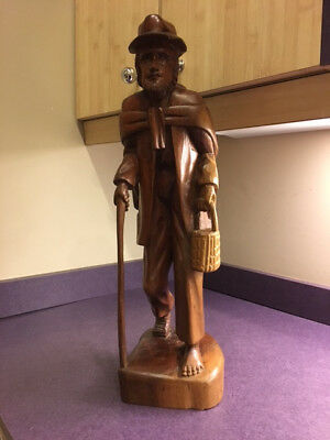 "Antique/Vintage Wooden Large Statue of a Beggar (21"" tall) Arts and Crafts"