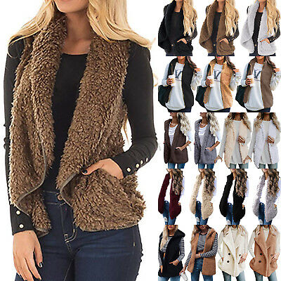 Women's Vest Winter Warm Jacket Casual Waistcoat Outwear Fur Fleece Sherpa Coat