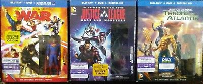 DC Animated Justice League Movie Lot- War, Throne of Atlantis, Gods & Monsters