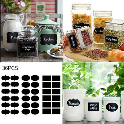 36pcs Removable Sticker Label Chalkboard Jars Tags Pantry Canister Kitchen Chic