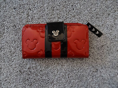 Disney Parks Wallet Red Black Boutique Loungefly Minnie Mickey Mouse Clutch