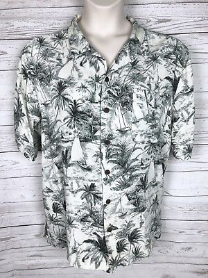 f47d64ea JAMAICA BAY HAWAIIAN Shirt Turquoise Green Yellow White Floral Size ...