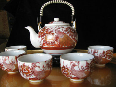 Vintage Japanese Kutani Peacock Ruby Red Gold Teapot tea set & five cups signed