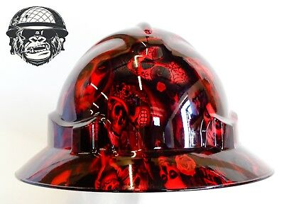 Australian customized wide brim hard hats Hydrographic DAY OF THE DEAD RED