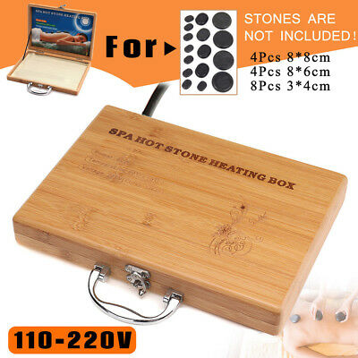 Bamboo Relaxation Container  Massage Heater Box Health Care Spa Stone Case