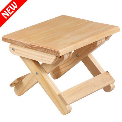Small Pine Wood Stool Wooden Chair Foldable Sturdy Home Shop Bar Bench Seating
